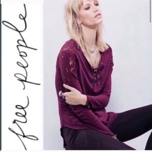 Free People Jennie Lace Up Long Sleeve Tee/Henley